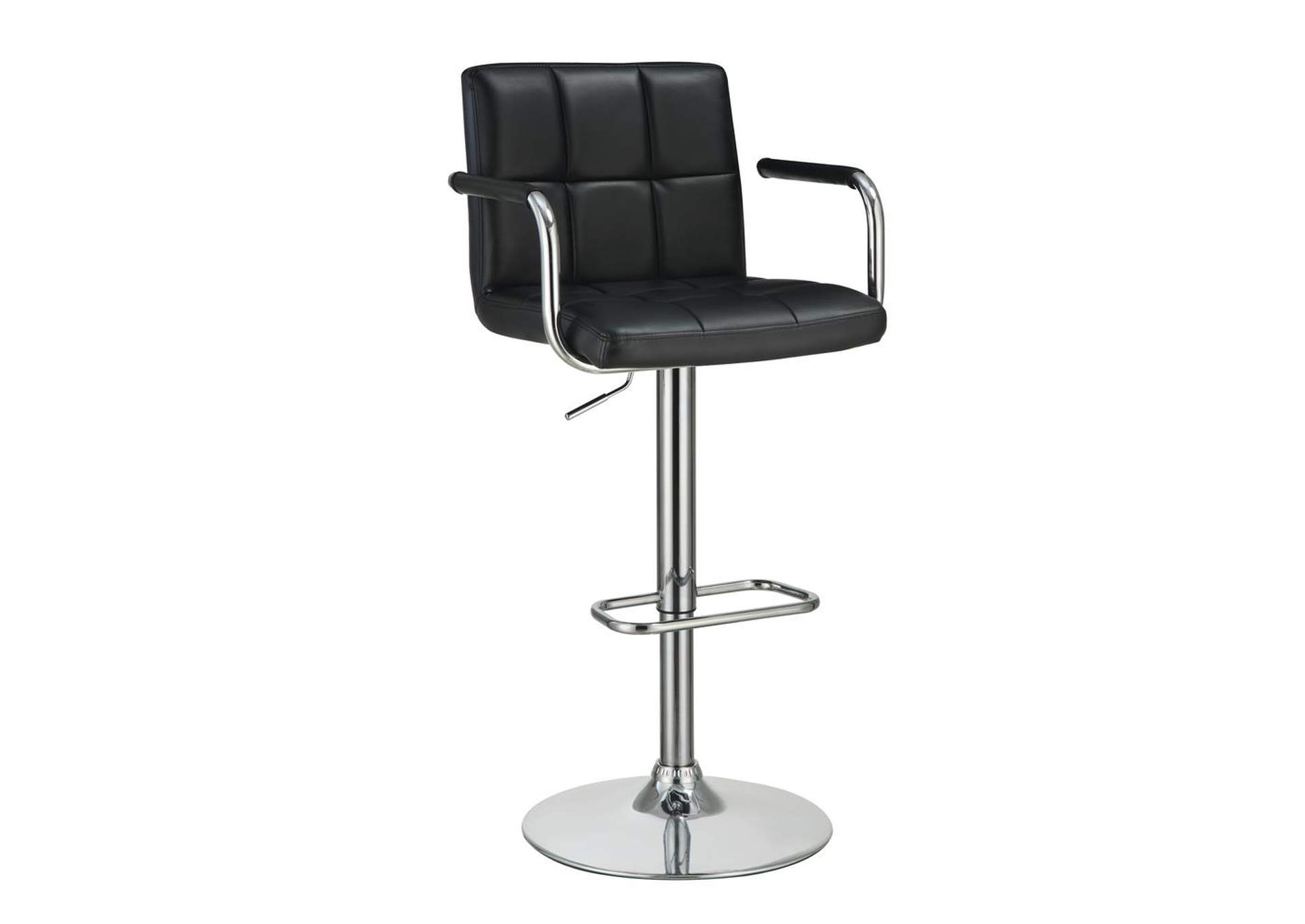 Mine Shaft Contemporary Black and Chrome Adjustable Bar Stool  W/ Arms,Coaster Furniture