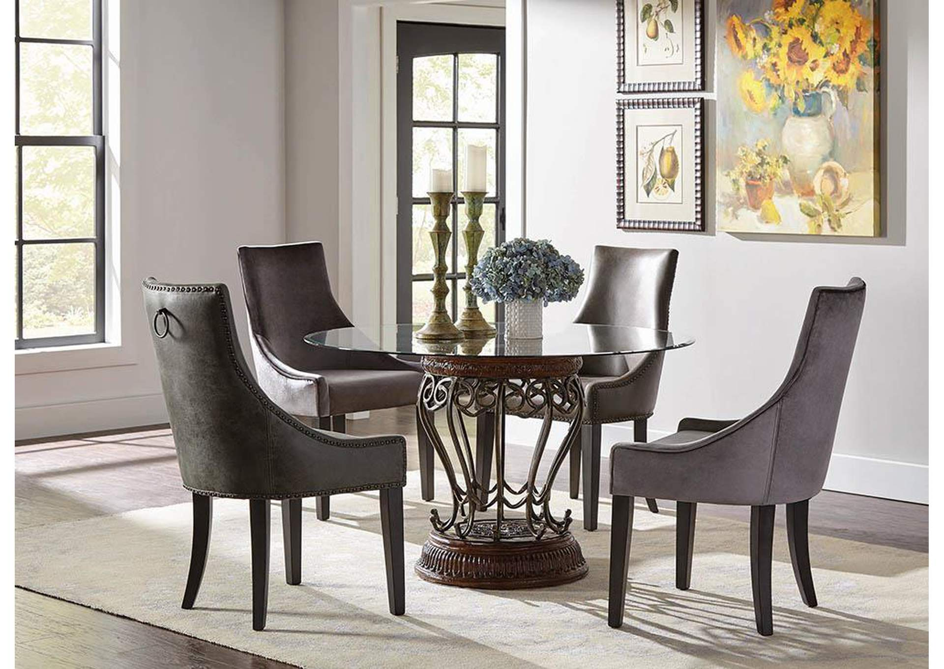 Phelps Upholstered Demi Wing Chairs Grey (Set of 2),Coaster Furniture