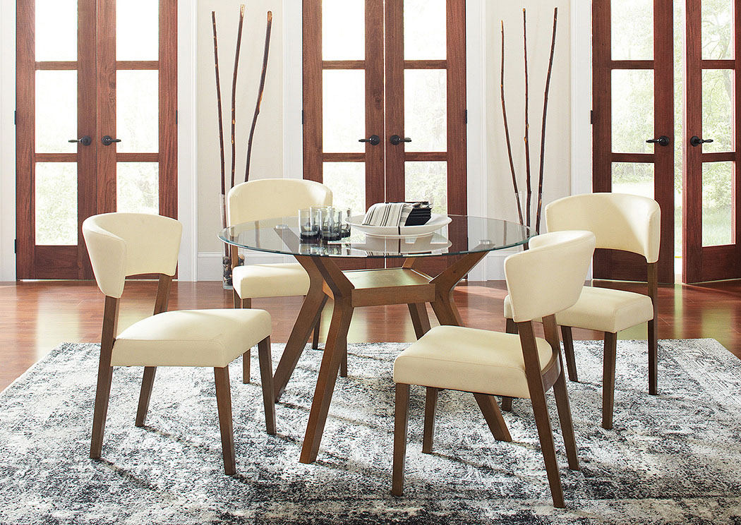 Picture of: Paxton Nutmeg Round Glass Top Dining Table W 4 Side Chairs Country House Furniture