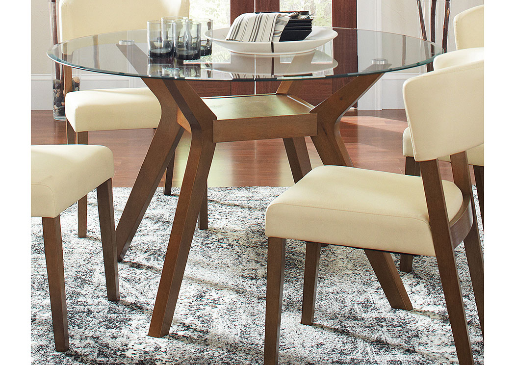 Paxton Nutmeg Round Glass Top Dining Table,Coaster Furniture