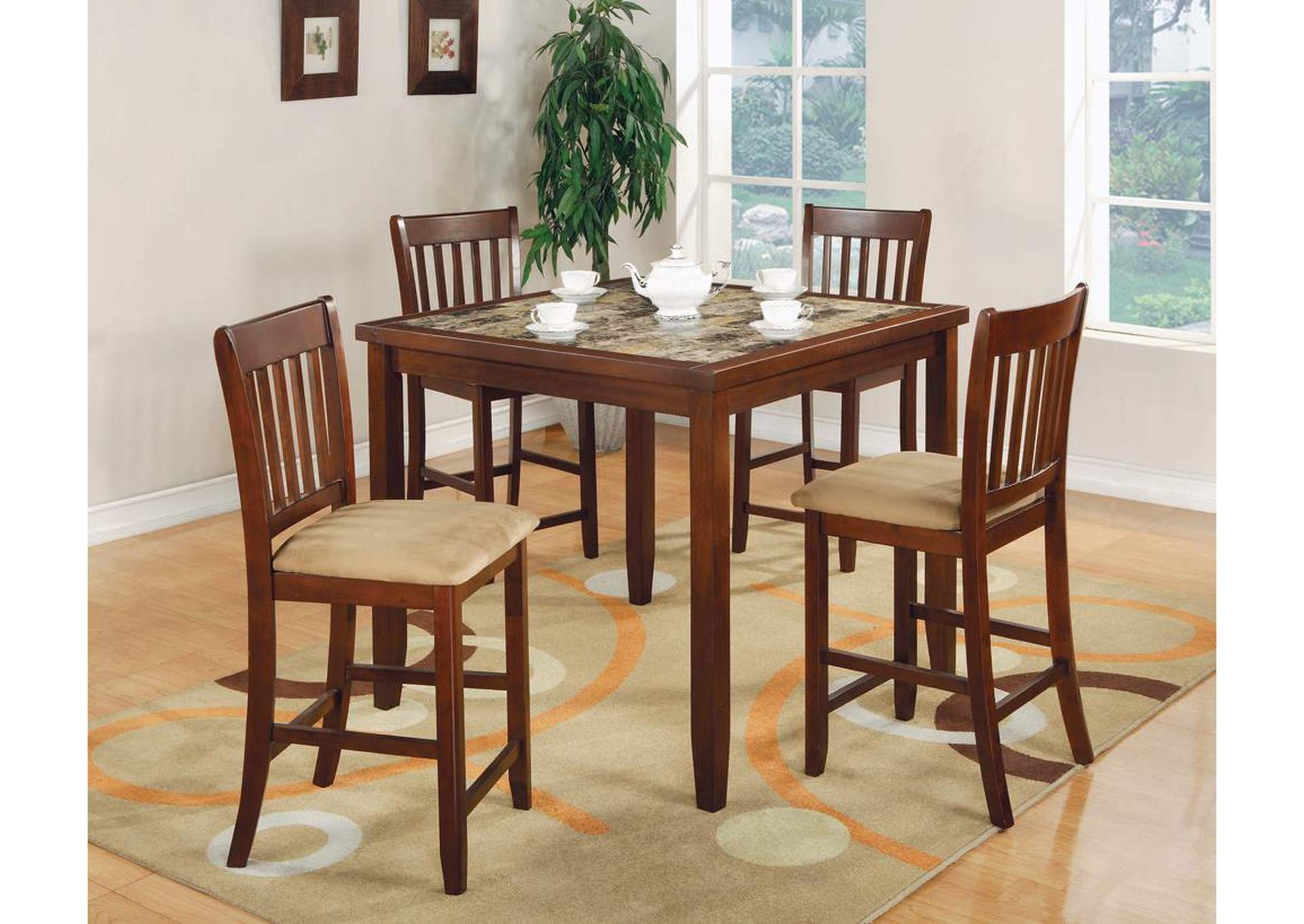Westar Five-Piece Casual Cherry Counter-Height Dining Set,Coaster Furniture
