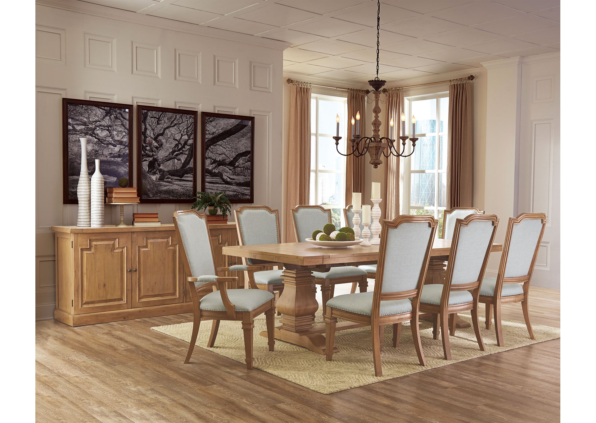 Rustic Smoke 9 Piece Formal Dining Set W 6 Side 2 Arm Chairs Furniture Plus