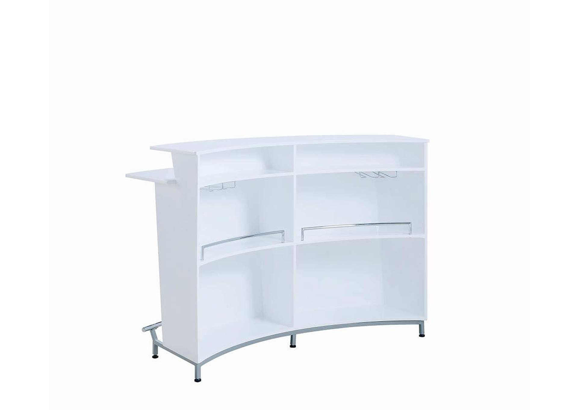 White High Gloss Contemporary White Bar Unit W/ Stemware Racks,Coaster Furniture