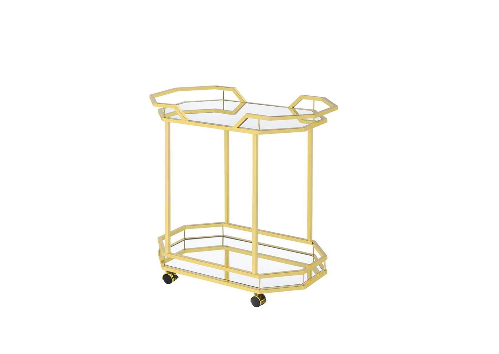 Mirror Traditional Brass Serving Cart,Coaster Furniture