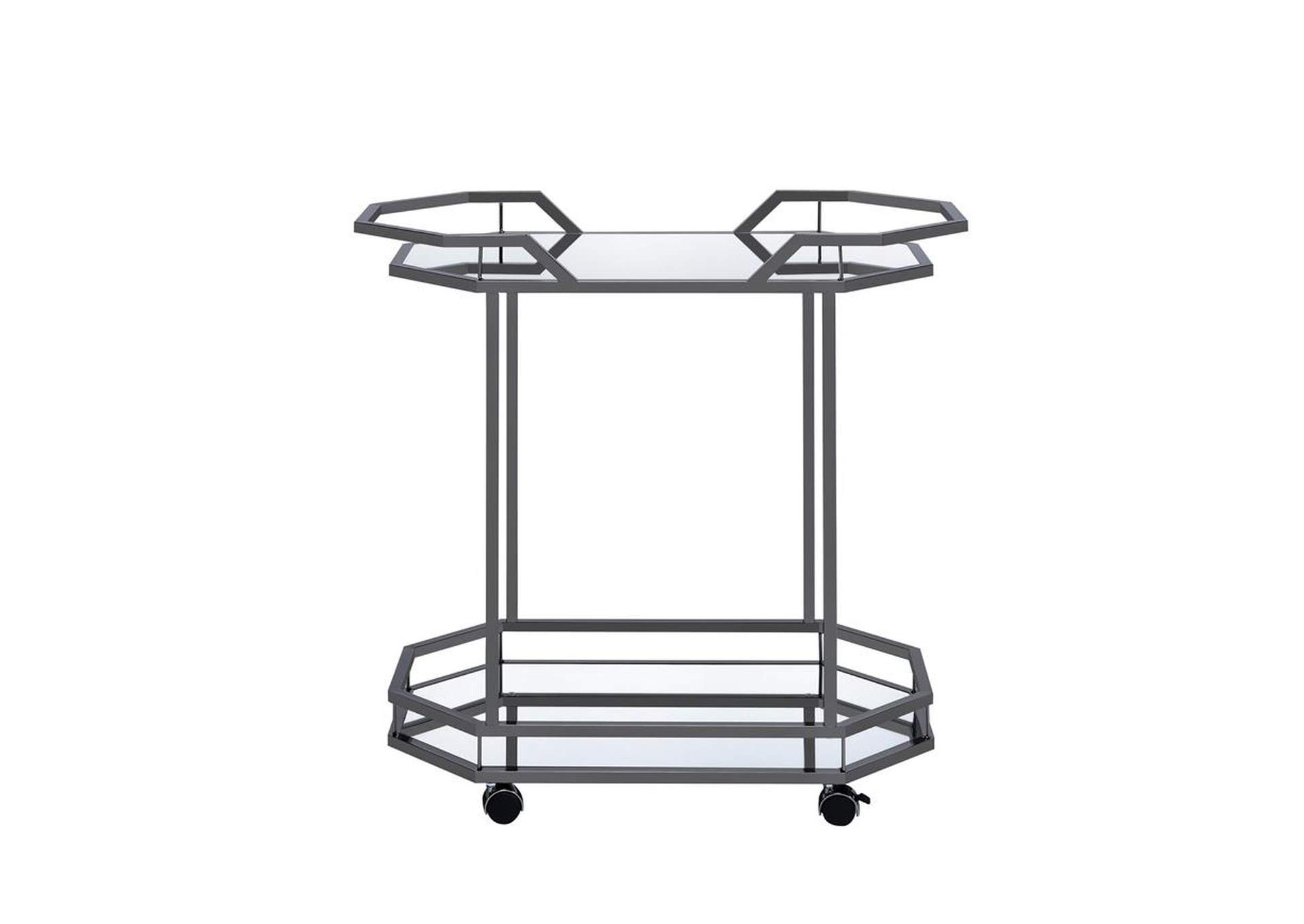 Mirror Traditional Black Nickel Serving Cart,Coaster Furniture