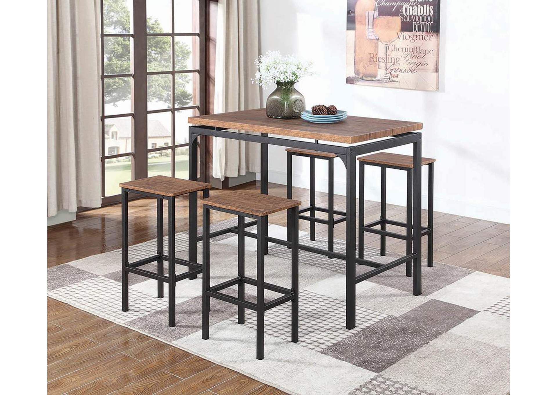 Weathered Chestnut Contemporary Five-Piece Bar Set,Coaster Furniture