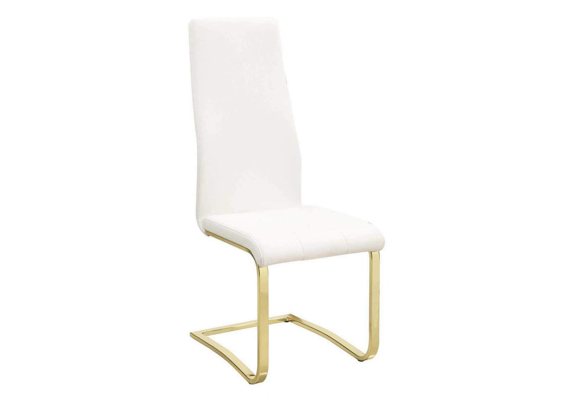 Chanel Side Chairs White And Rustic Brass (Set of 4),Coaster Furniture