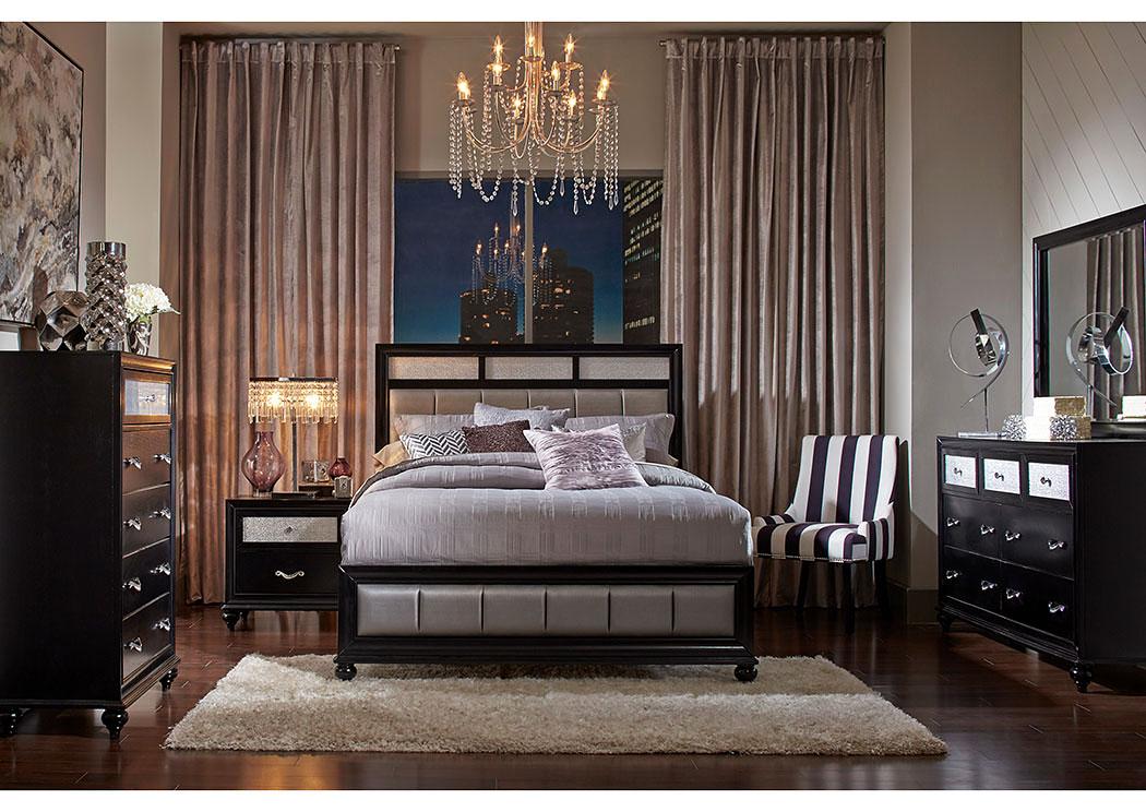 Barzini Black California King Bed W Dresser Mirror Downtown Furniture Co