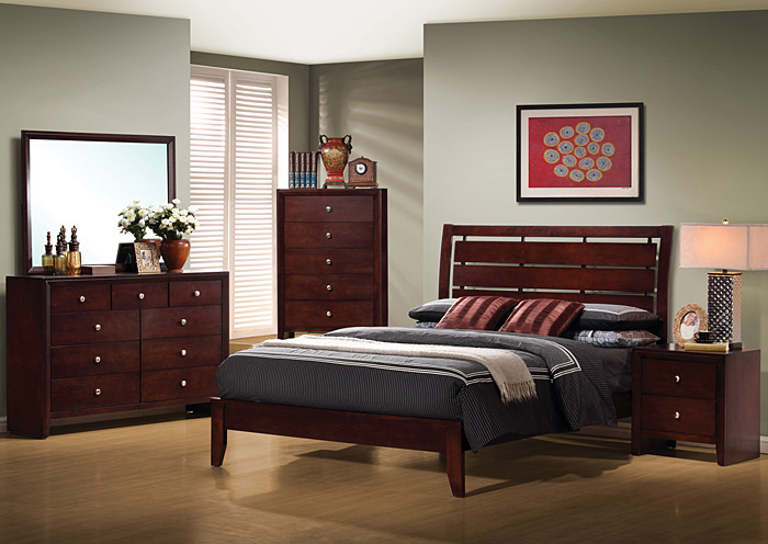 Serenity Merlot King Bed w/Dresser & Mirror,Coaster Furniture
