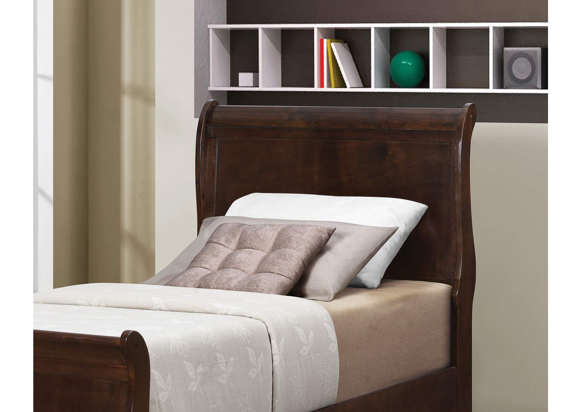 Louis Philippe Cappuccino Twin Sleigh Bed,Coaster Furniture