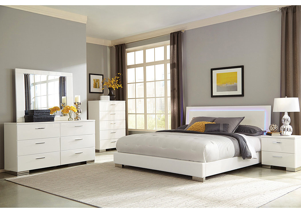 High Gloss White Queen Bed w/Dresser & Mirror,Coaster Furniture