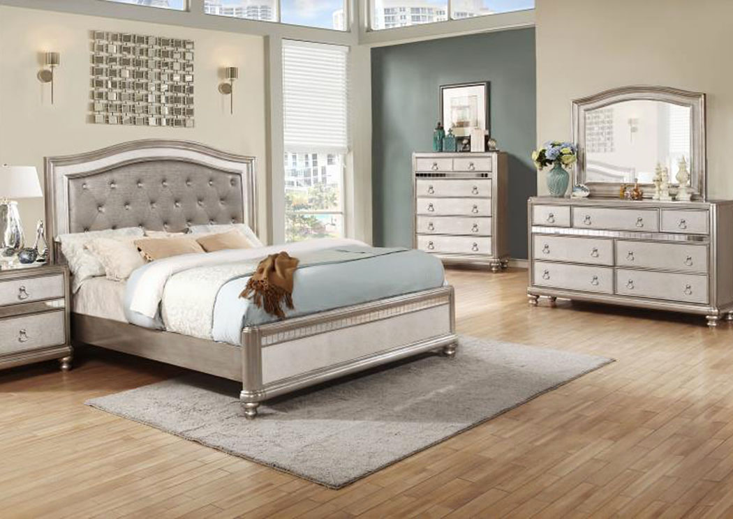 Metallic Platinum Queen Bed w/Dresser & Mirror,Coaster Furniture