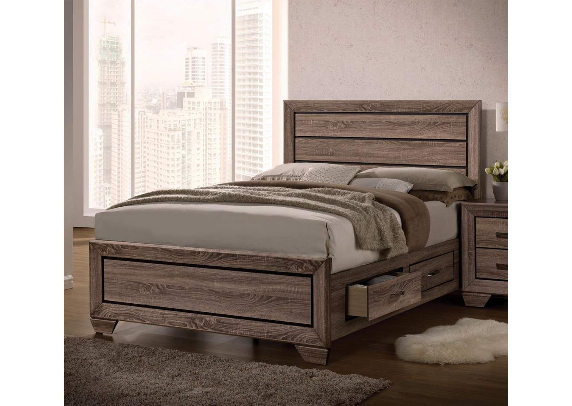 Washed Taupe Kauffman Transitional Queen Bed,Coaster Furniture