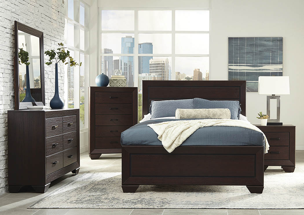 Dark Cocoa Eastern King Panel Bed w/Dresser & Mirror,Coaster Furniture