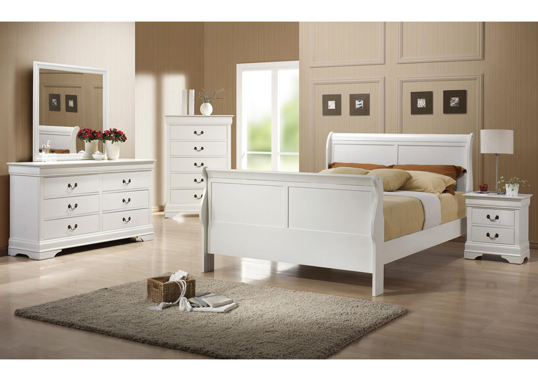 Louis Philippe White Twin Bed w/Dresser & Mirror,Coaster Furniture