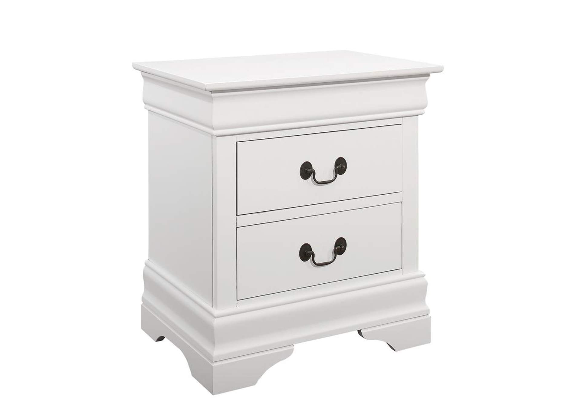 White Louis Philippe White Two-Drawer Nightstand,Coaster Furniture