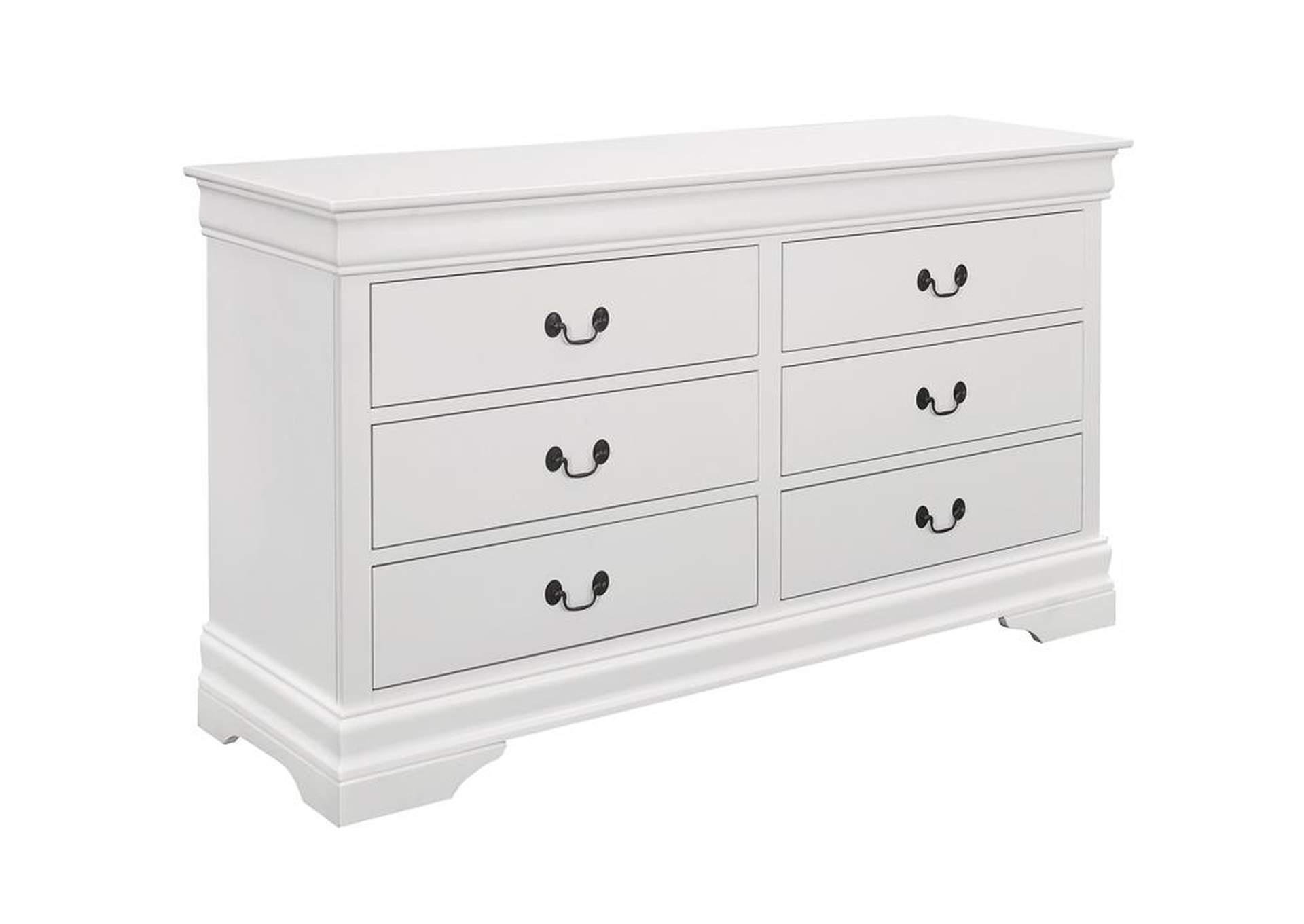 White Louis Philippe White Six-Drawer Dresser,Coaster Furniture
