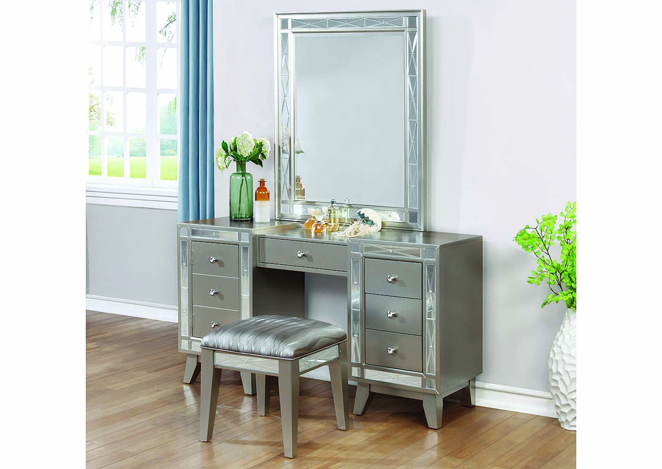 Leighton Metallic Mercury Vanity Desk, Stool & Mirror,Coaster Furniture