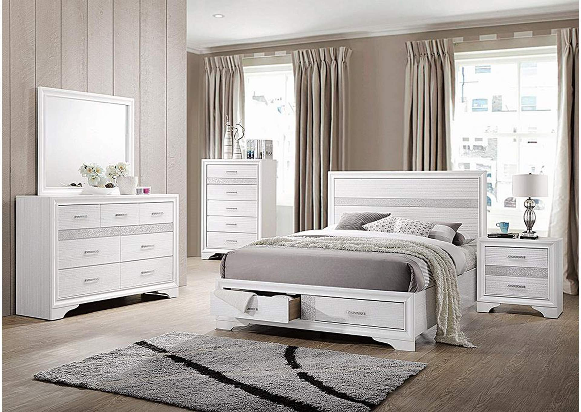White Miranda Contemporary White Queen Storage Bed,Coaster Furniture