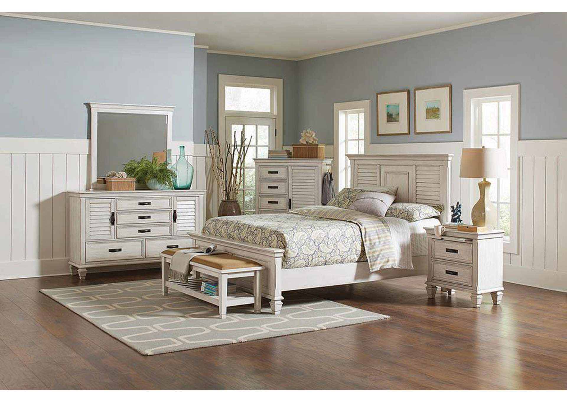 Quill Gray Franco Antique White California King Bed United Furniture Style Springfield Pa