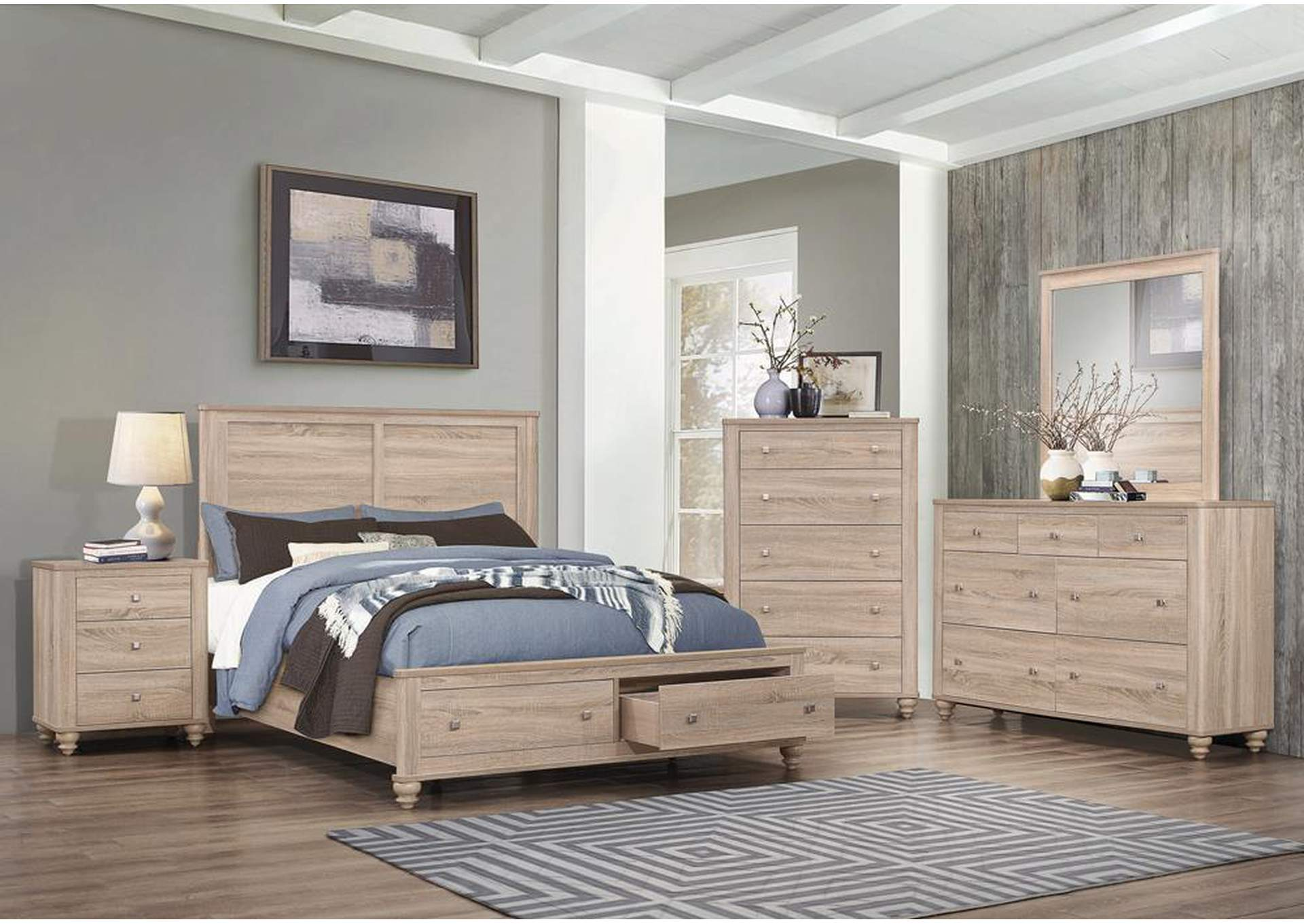 Natural Gray 5 Piece Full Youth Bedroom Set Beacon Furniture Grand Cayman