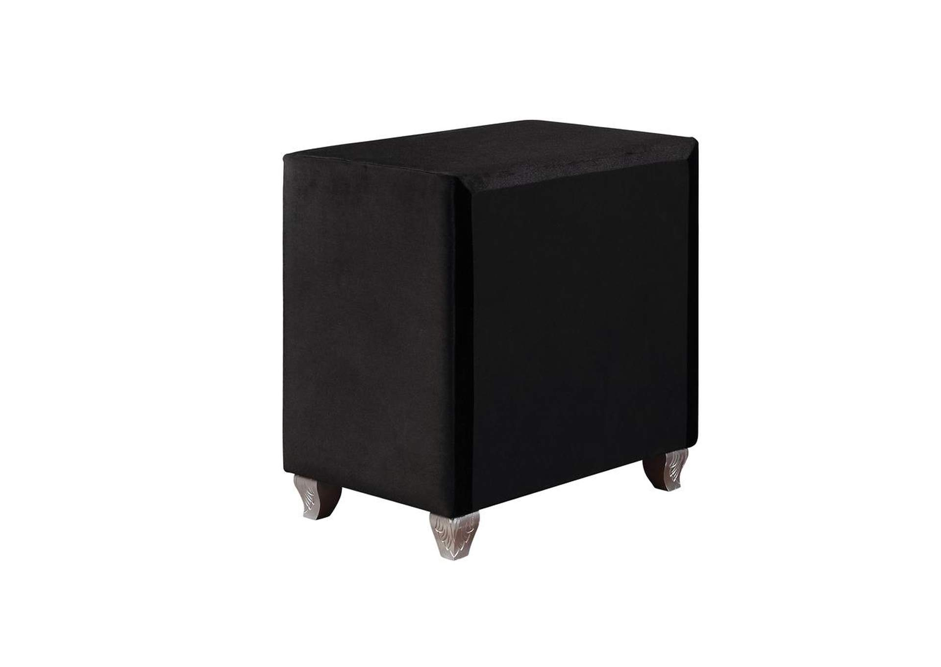 Metallic Deanna Contemporary Black and Metallic Nightstand,Coaster Furniture