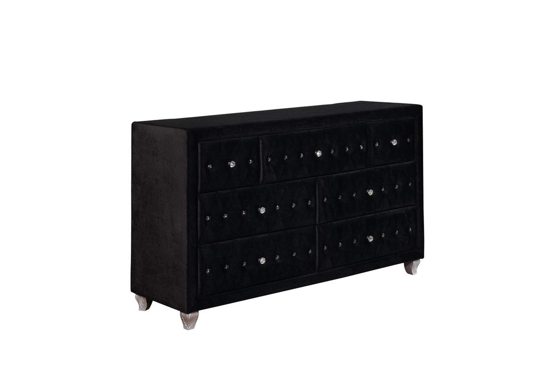 Metallic Deanna Contemporary Black and Metallic Dresser,Coaster Furniture