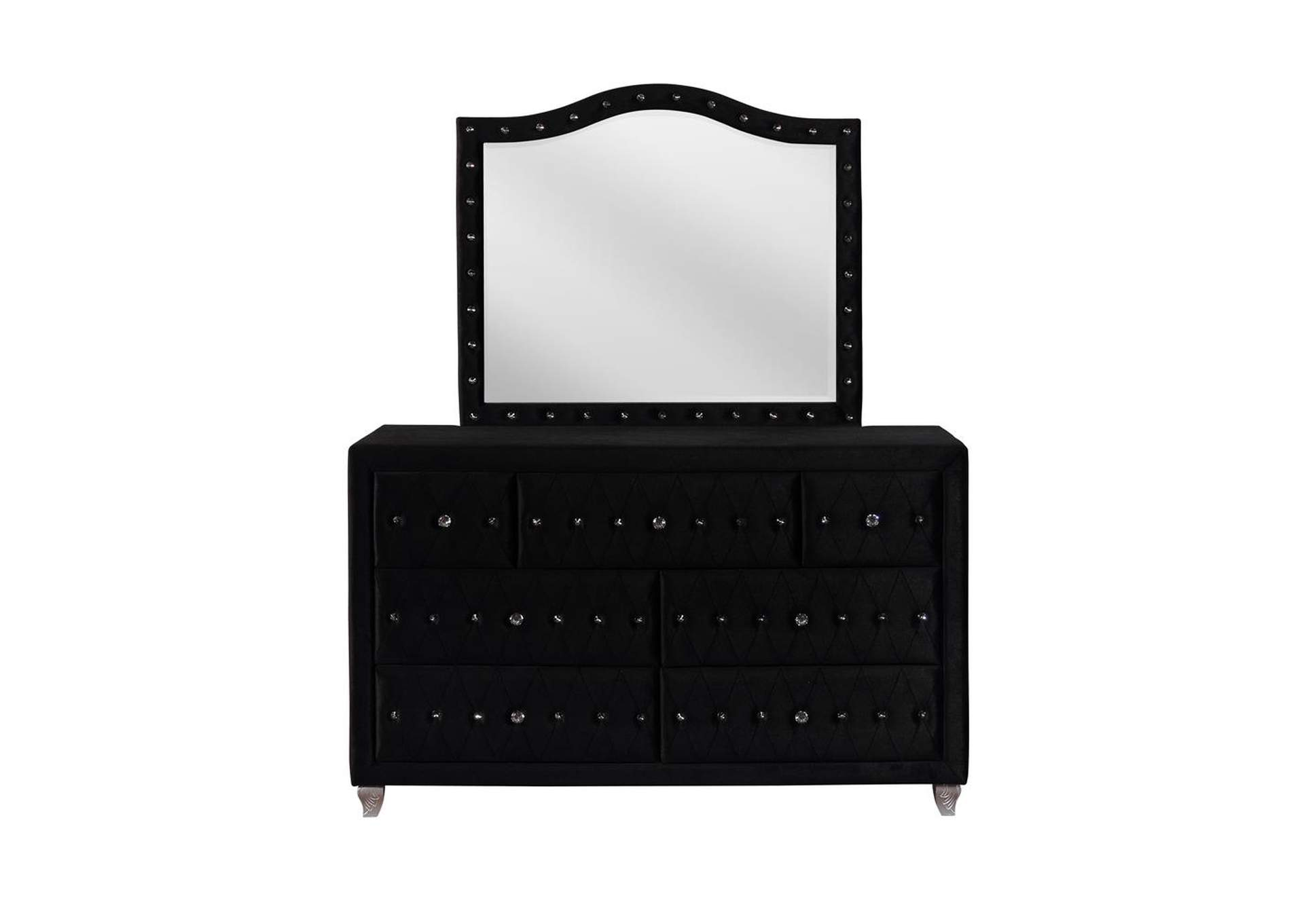 Deanna Metallic Black Dresser and Mirror,Coaster Furniture