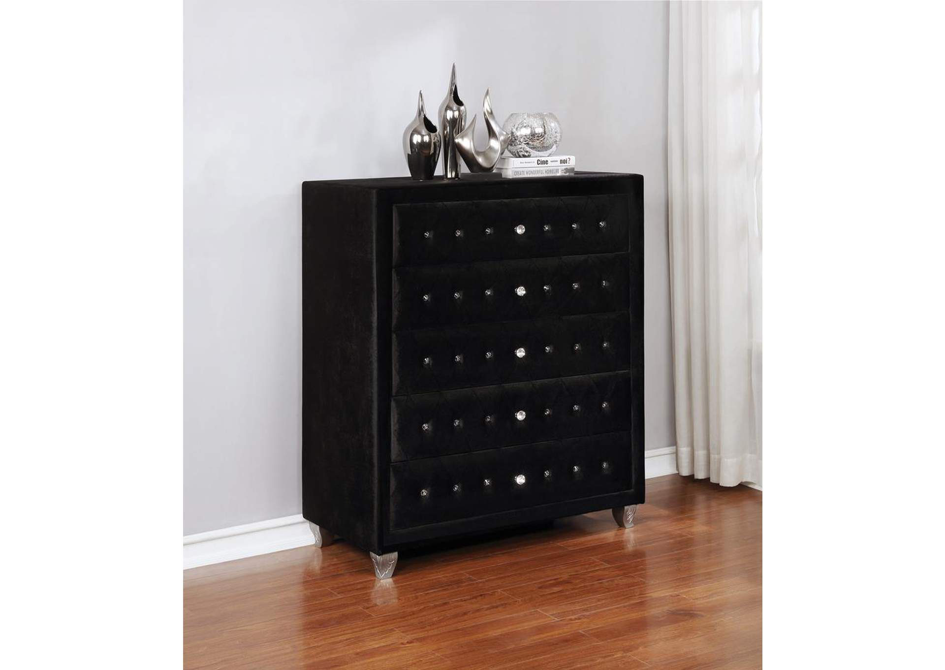 Metallic Deanna Contemporary Black and Metallic Chest,Coaster Furniture