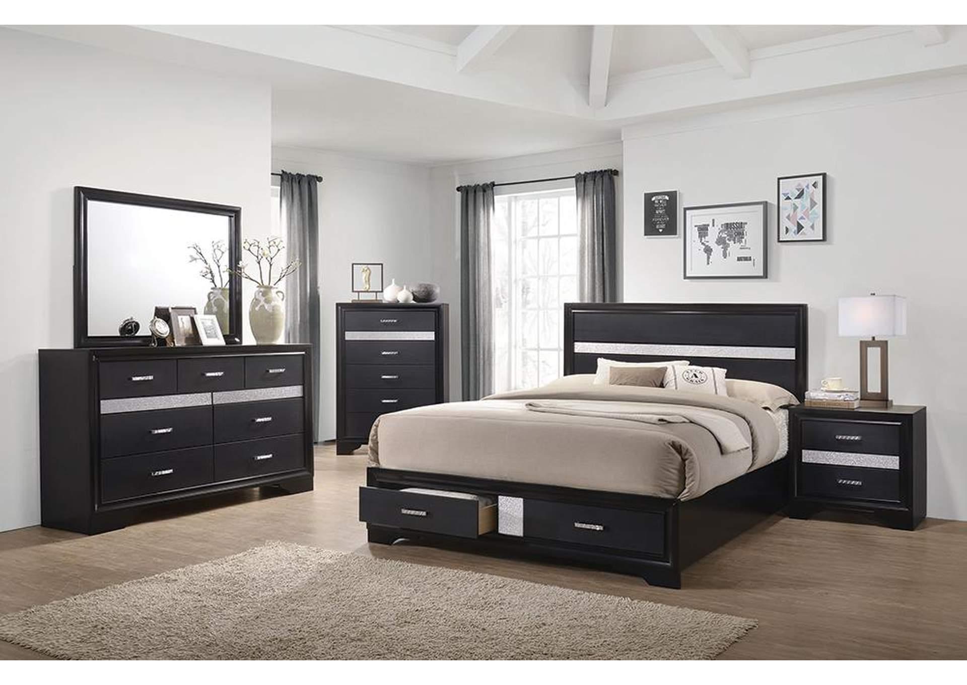 Miranda Black California King Storage Bed W Dresser Mirror Big Box Furniture Discount Furniture Stores In Miami Florida