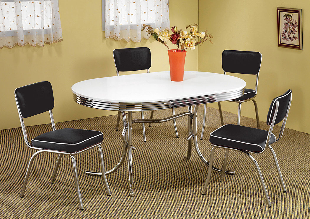 Oval Retro Dining Table w/4 Chrome Plated Retro Dining Chairs,Coaster Furniture