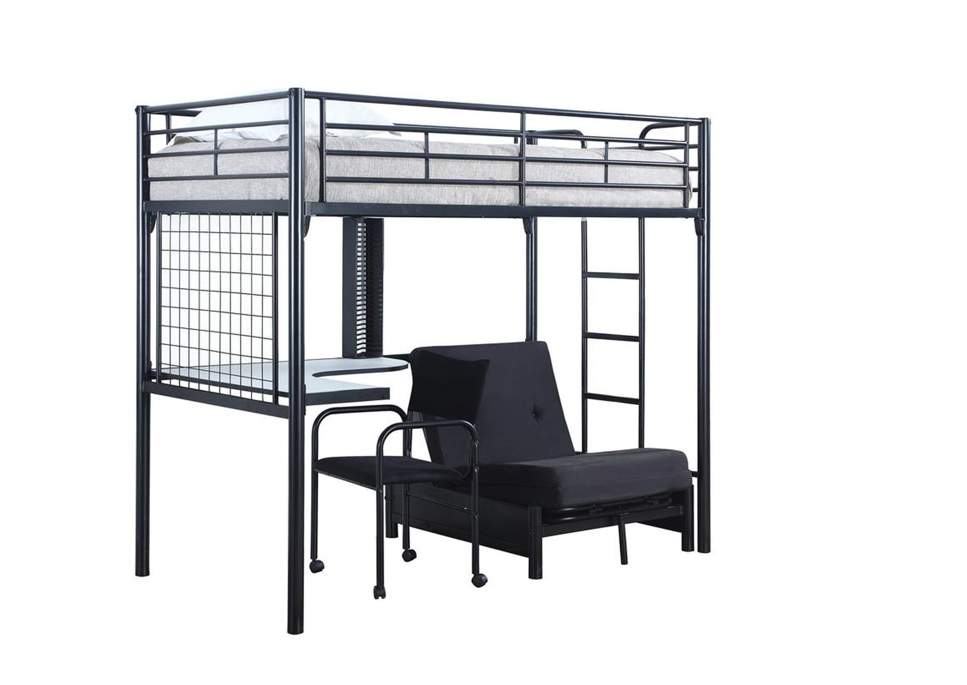 Alto Contemporary Metal Loft Bunk Bed W/ Desk,Coaster Furniture