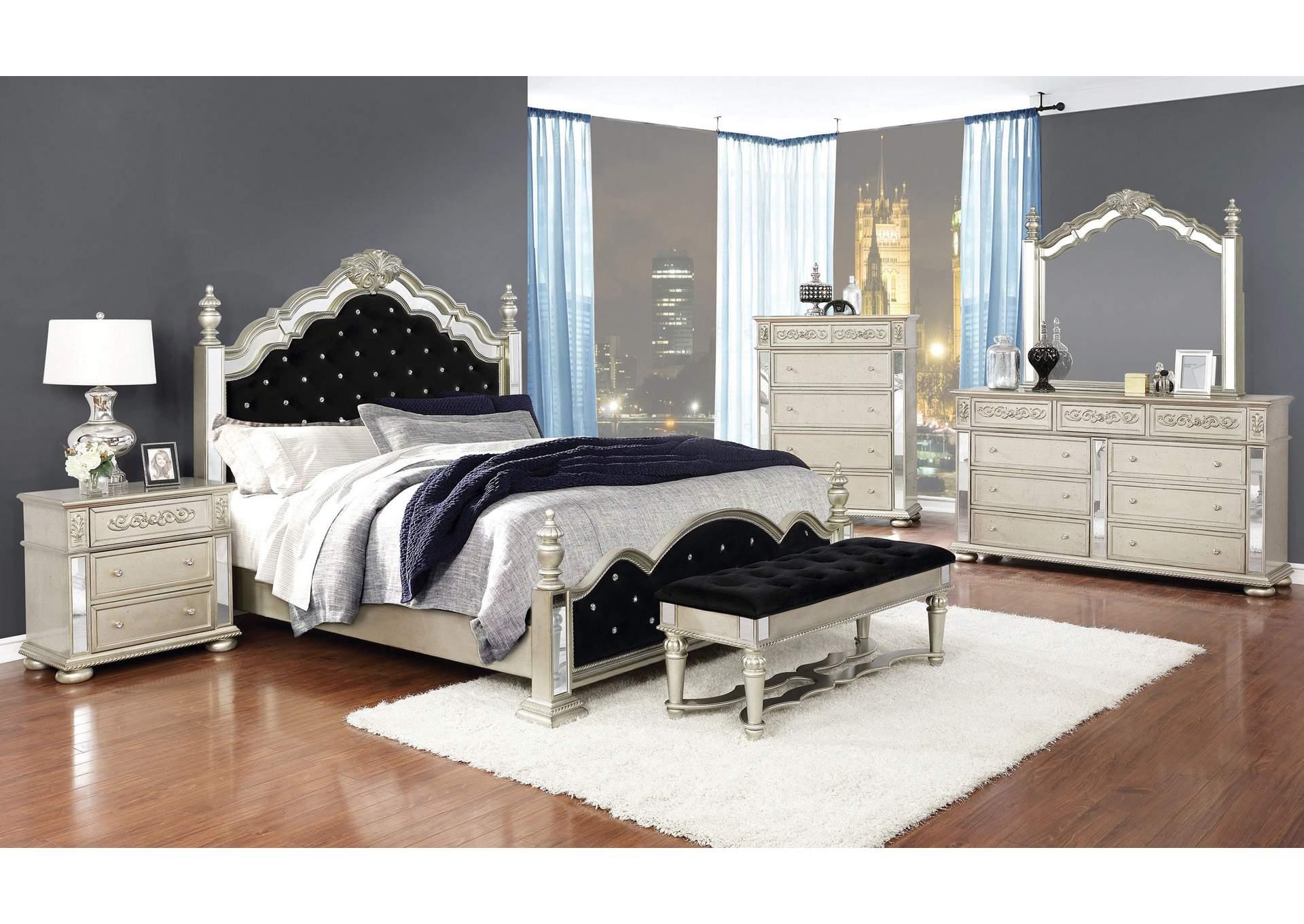 Metallic Platinum Eastern King 4 Piece Bedroom Set Jerusalem Furniture Philadelphia