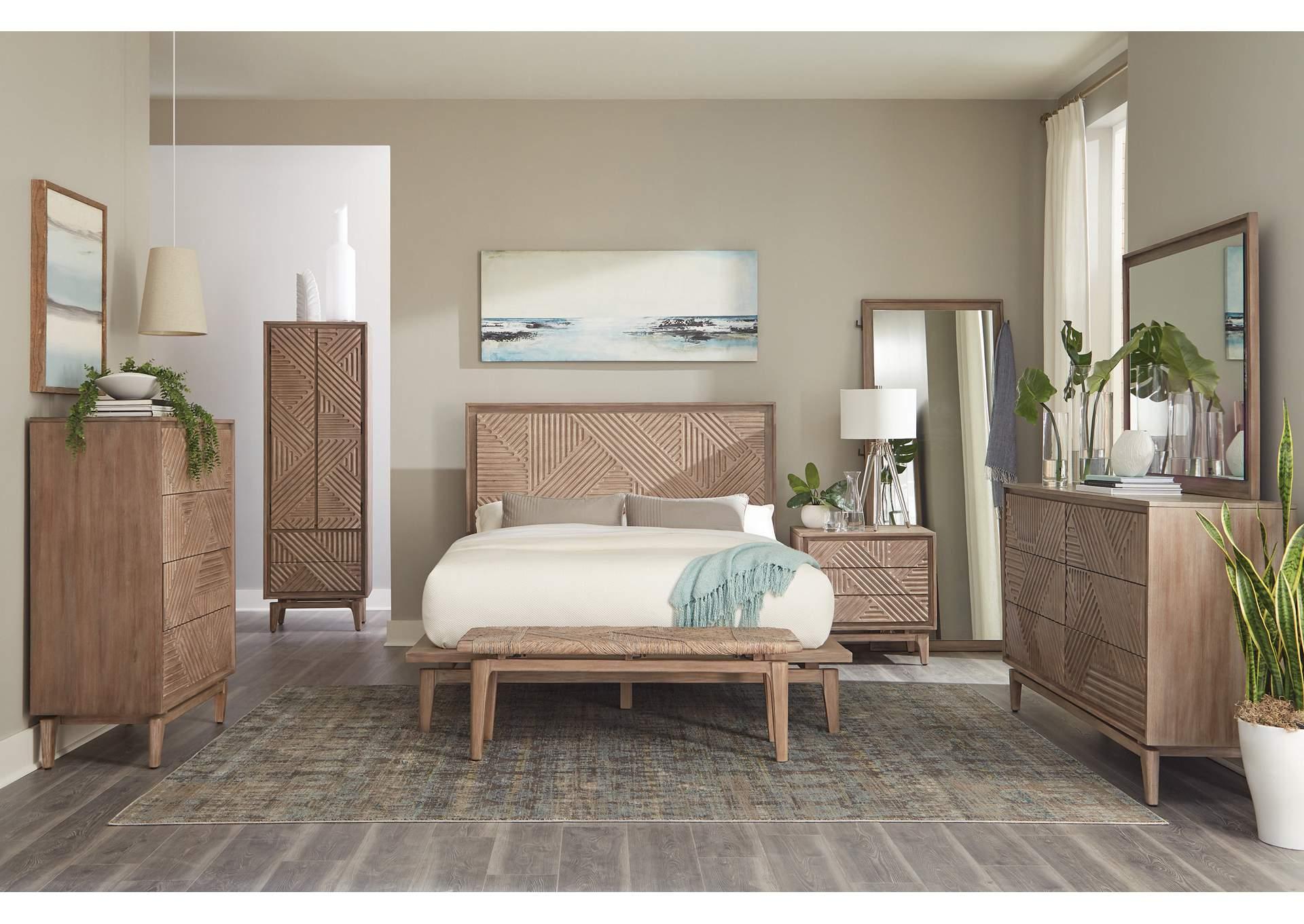 Vanowen Heathered Gray 5 Piece California King Bedroom Set Furniture Elegance