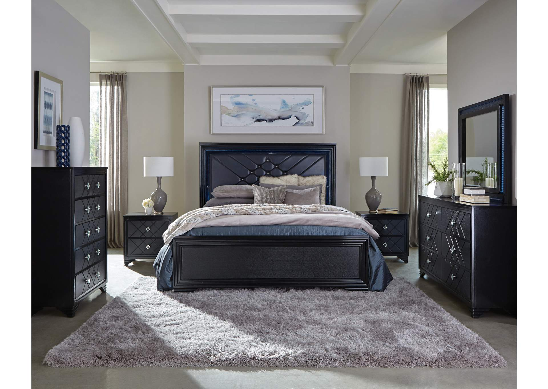 Eerie Black Queen Bed,Coaster Furniture
