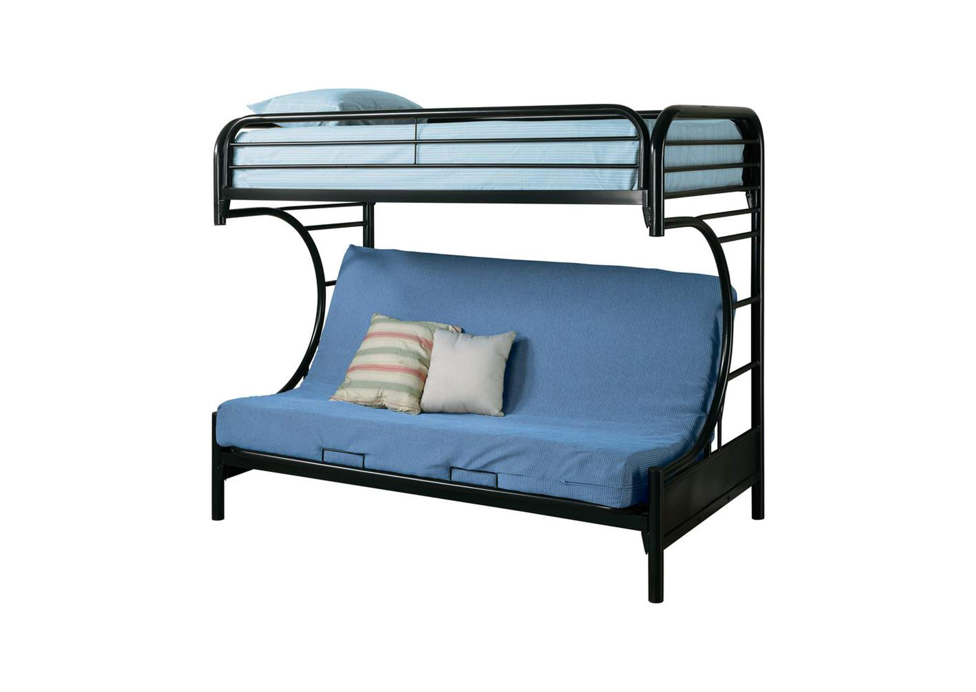 Horizon Contemporary Glossy Black Futon Bunk Bed,Coaster Furniture