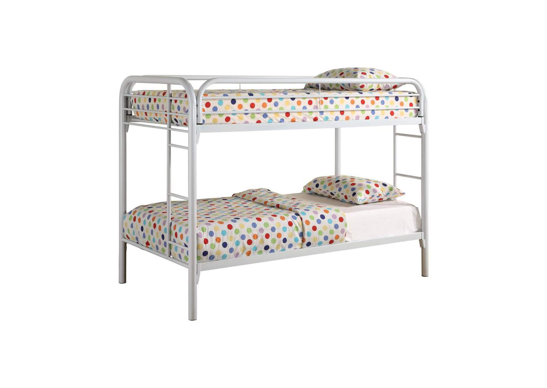 Cultured Pearl Contemporary White Twin Metal Bunk Bed,Coaster Furniture