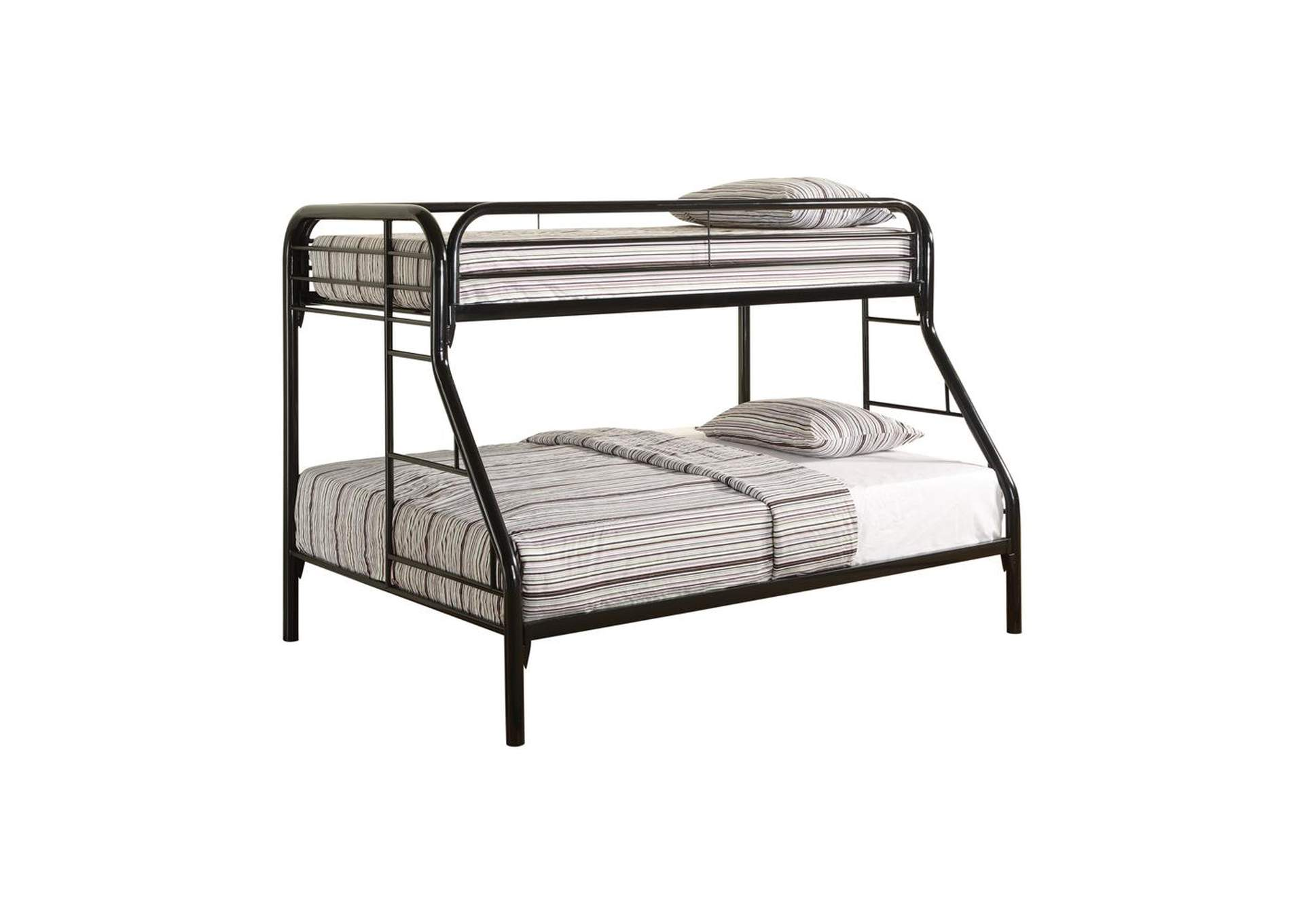Cultured Pearl Morgan Twin-over-Full Black Bunk Bed,Coaster Furniture