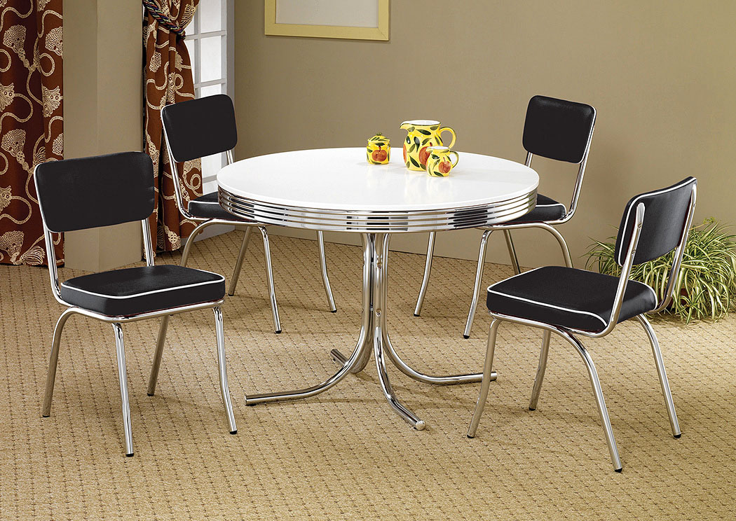 Round Retro Dining Table w/4 Black Side Chairs,Coaster Furniture
