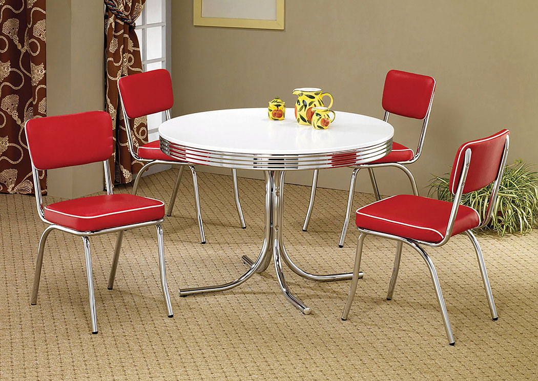 Round Retro Dining Table w/4 Red Side Chairs,Coaster Furniture