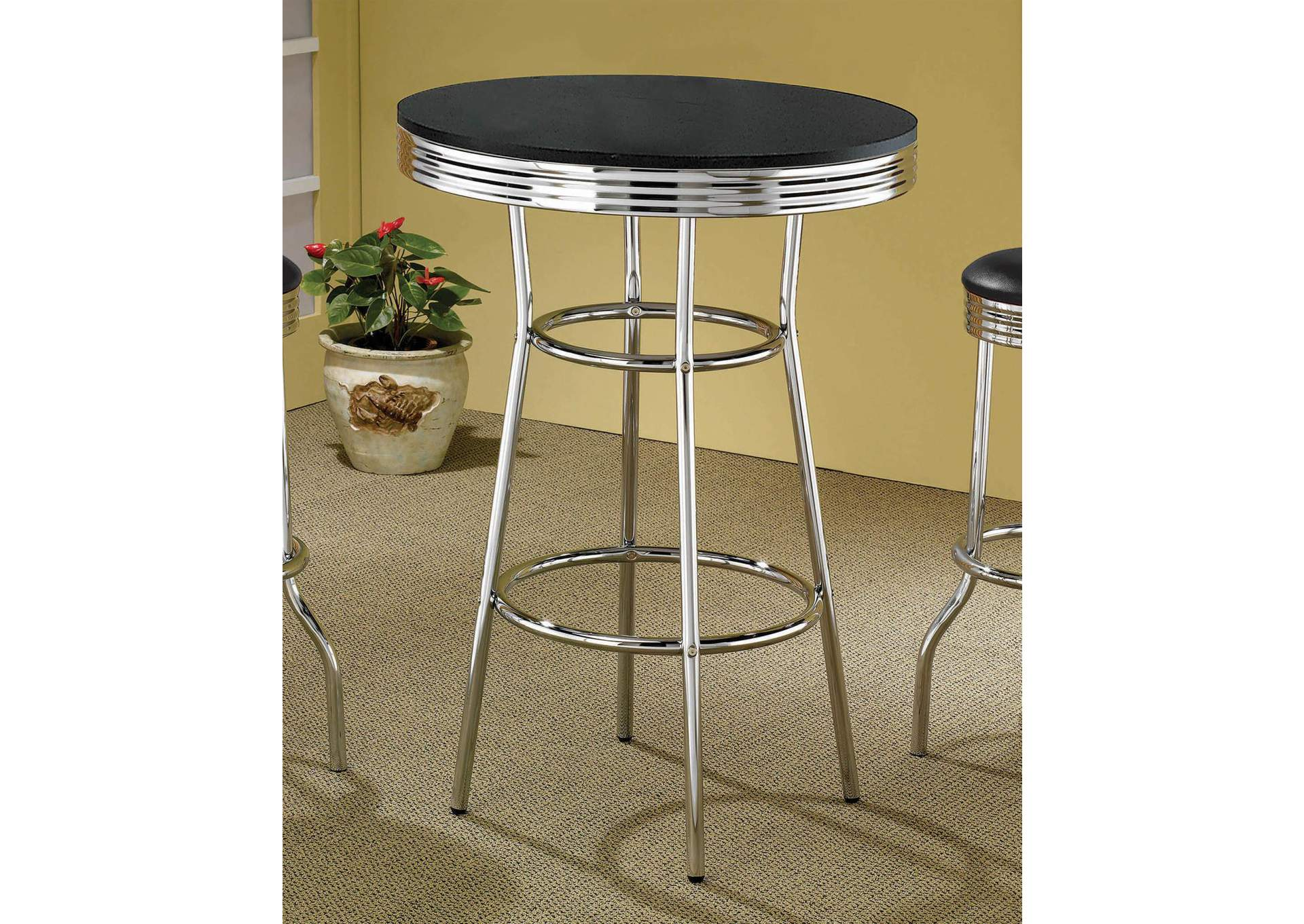 Black Contemporary Black Bar-Height Table,Coaster Furniture