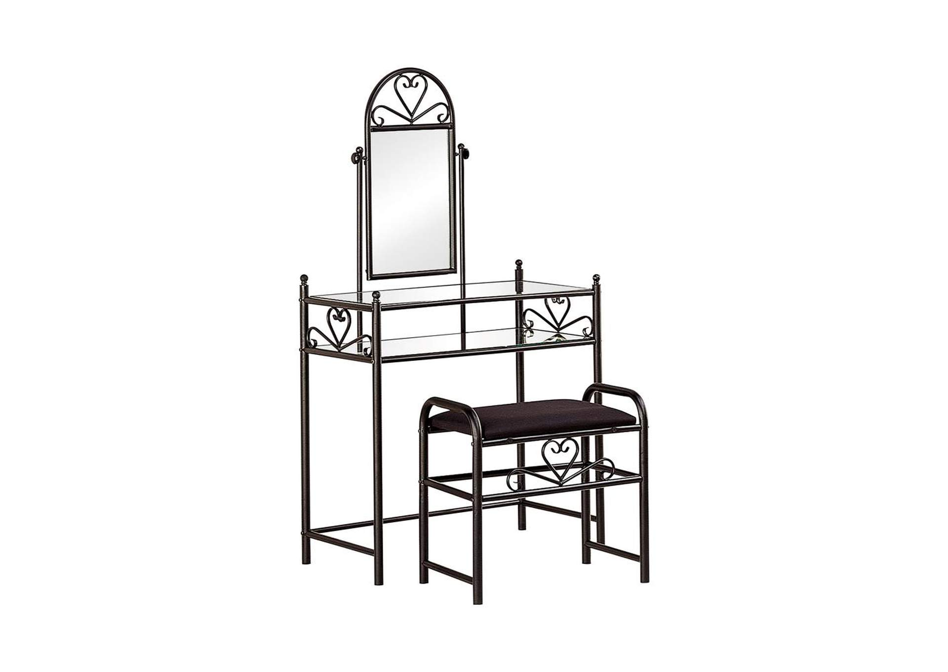 2-Piece Metal Vanity Set With Glass Top Black,Coaster Furniture