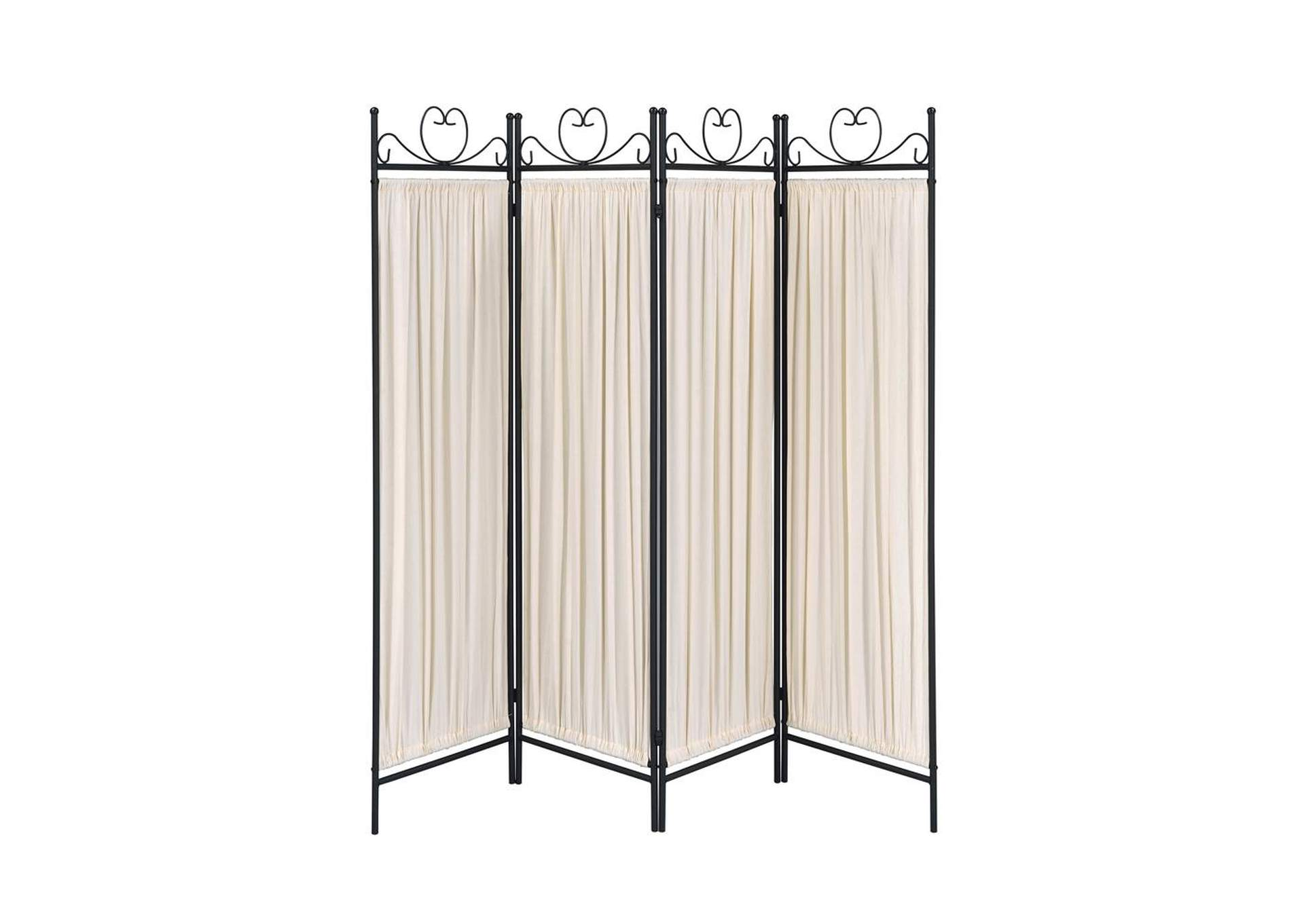 Swirl Traditional Black and Gold Four-Panel Folding Screen,Coaster Furniture