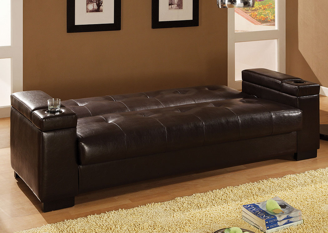 Oil Transitional Dark Brown Sofa Bed,Coaster Furniture