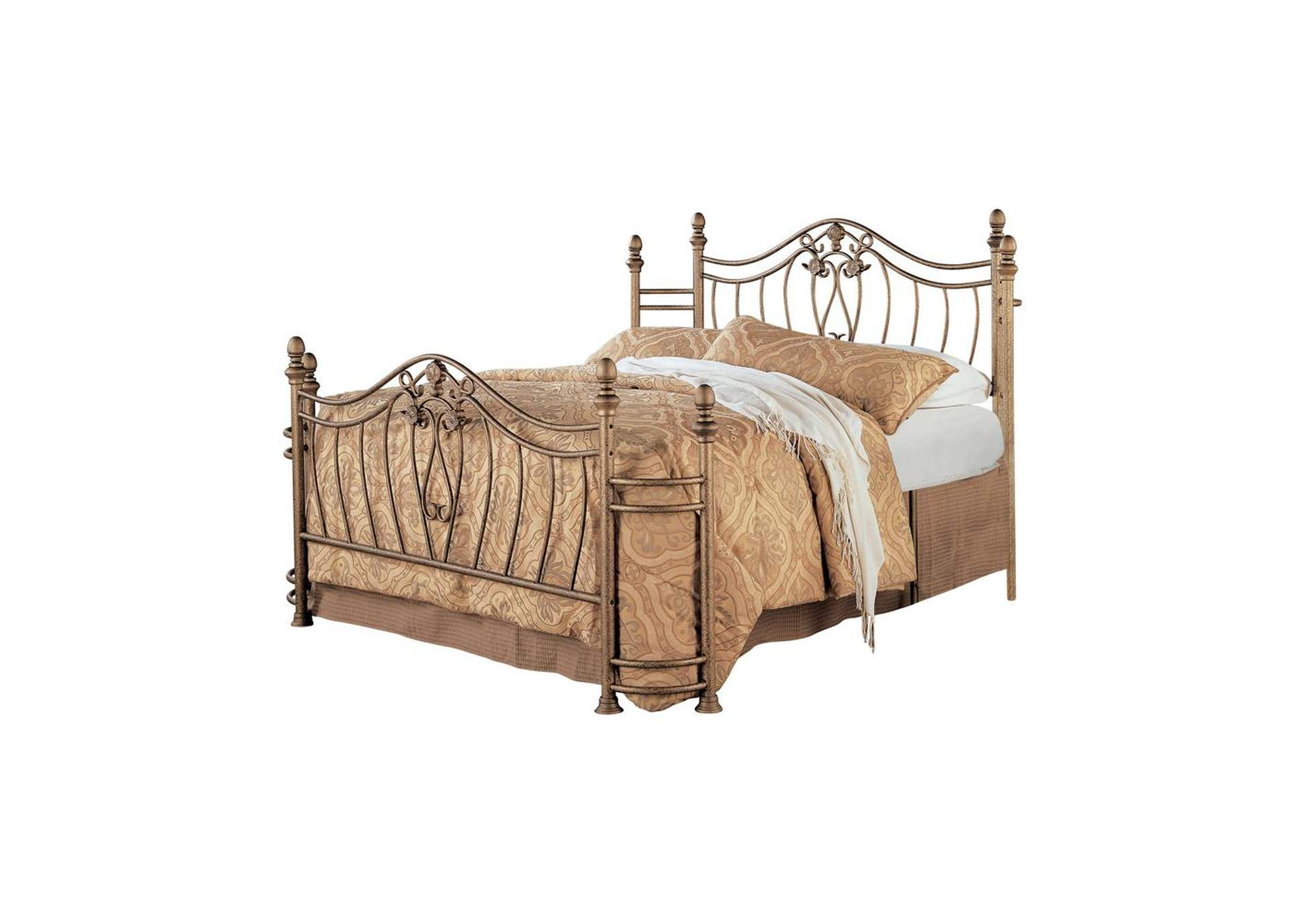 Antique Brass Sydney Traditional Antique Brushed Queen Bed,Coaster Furniture