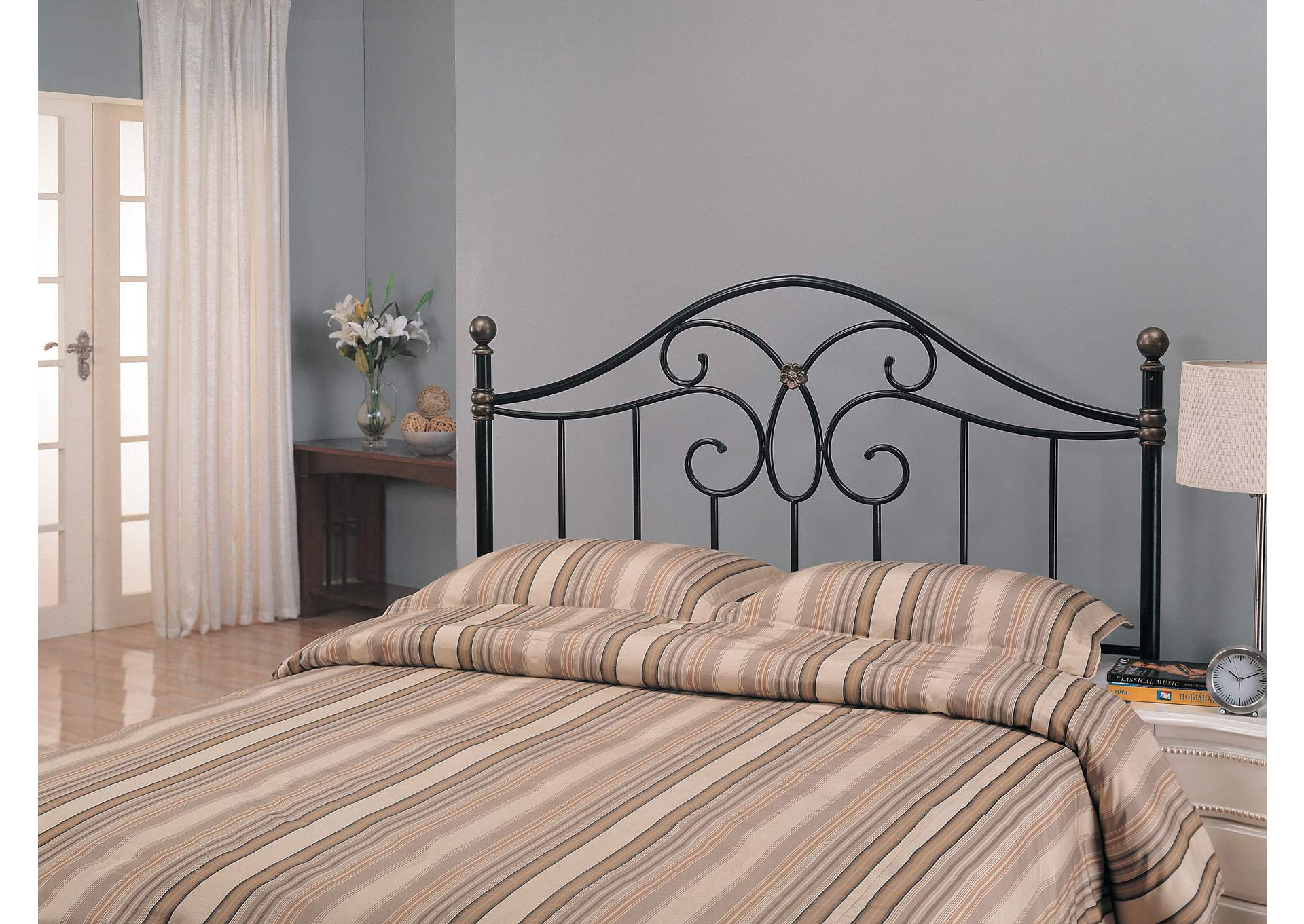 Traditional Black Iron Queen Headboard,Coaster Furniture