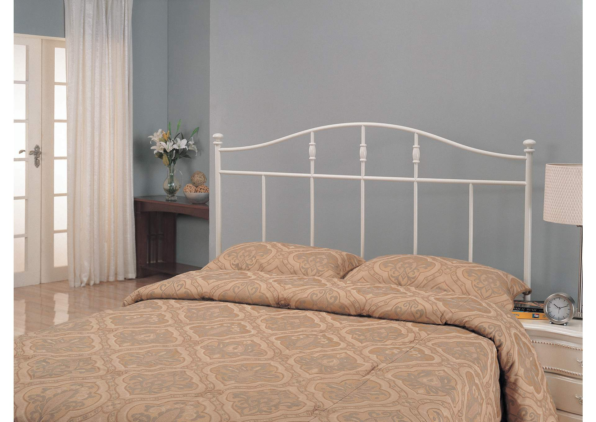Traditional Cottage White Metal Queen Headboard,Coaster Furniture