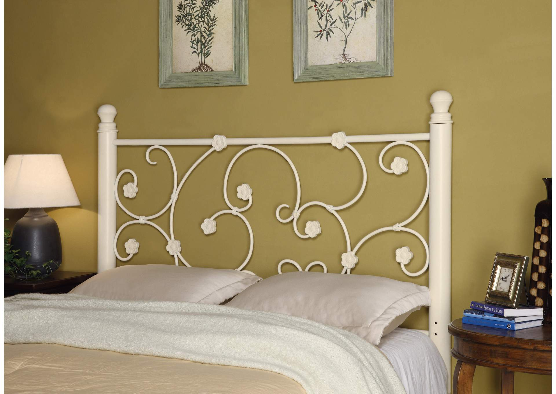 Traditional Floral White Queen/Full Headboard,Coaster Furniture