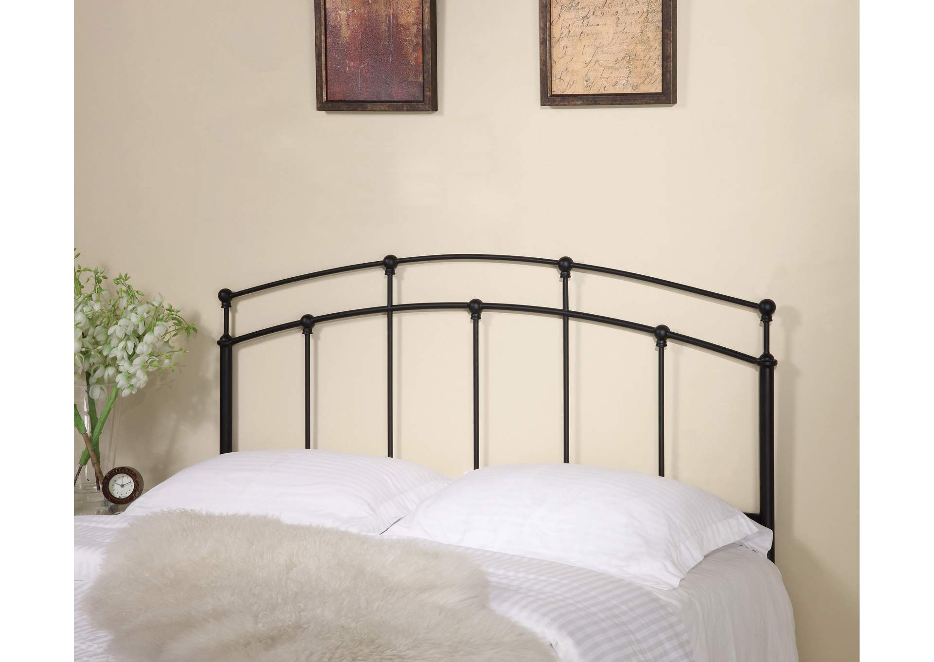 Traditional Black Metal Headboard W/ Spindles,Coaster Furniture