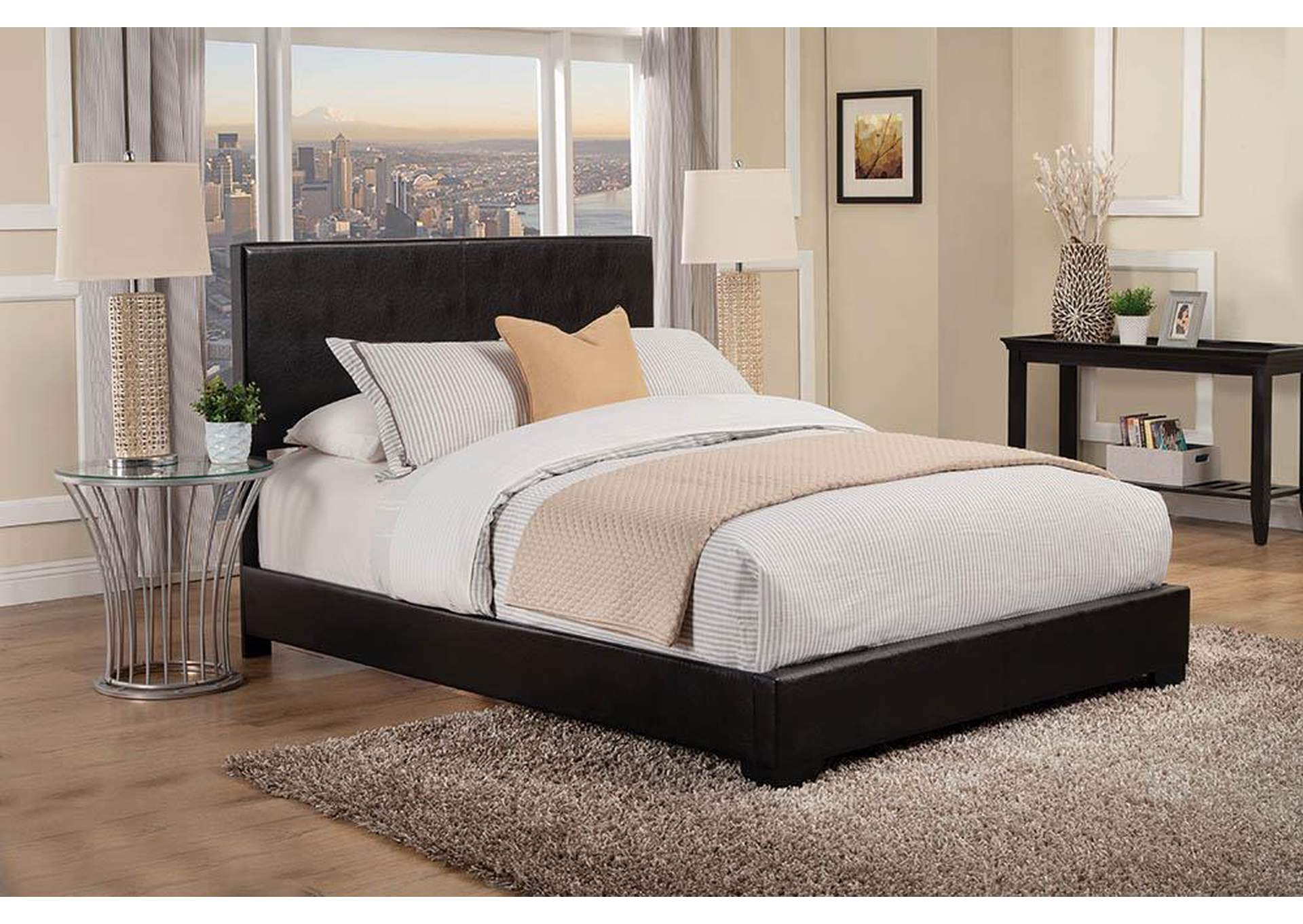 Licorice Conner Casual Black Upholstered Queen Bed,Coaster Furniture